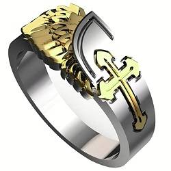 18K Gold/Silver Plated Cross with Angel Wings Ring
