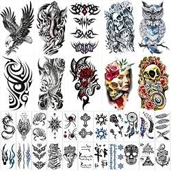 42 Sheets Temporary Tattoos Stickers (Include 10 Sheets Large Stickers)